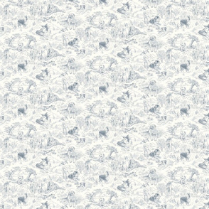 Country Dog Toile Grey Small