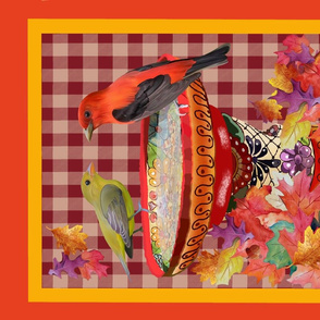Scarlet Tanager and Fall Leaves-Fall