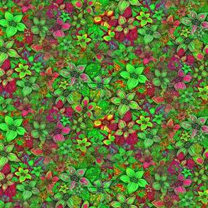 SEAMLESS FLOWERS MISH MASH GREEN GARDEN PSMGE