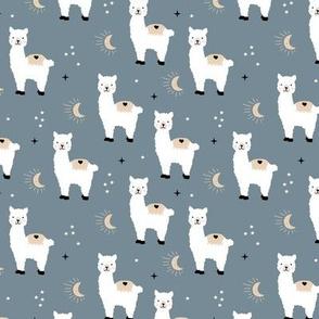 Little Llama dreams moon and stars boho night sweet dreams nursery kids pattern neutral gray beige white