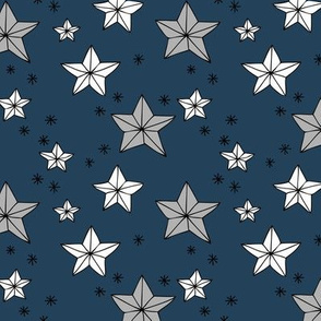 Magical origami stars and twinkle universe christmas theme navy blue gray white