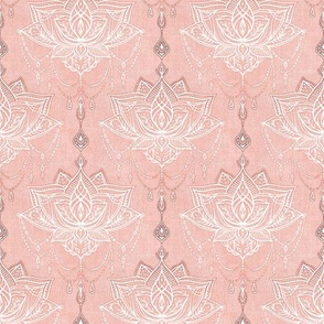 Dusty Peach Pink and White Art Nouveau Doodle - Small