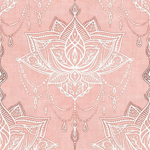Dusty Peach Pink and White Art Nouveau Doodle - Large