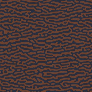 wave or tree bark pattern, brown and navy - Turing pattern #5
