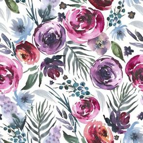 Bordeaux & Plum Watercolor Floral