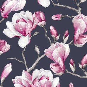 Magnolias / Stone Grey Background / Small Scale