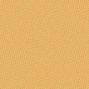 tiny circles in squares in yellow and orange - Turing pattern 6
