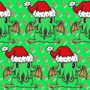Christmas Cthulhu on green