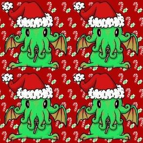 Christmas Cthulhu on red