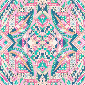 Tribal decorative painting - pink green teal