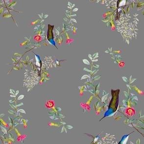 HUMMINGBIRD BLOOMS (GRAY)