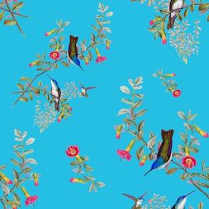 HUMMINGBIRD BLOOMS (TURQUOISE)