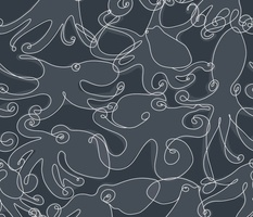 Continuous Line Cephalopods Navy