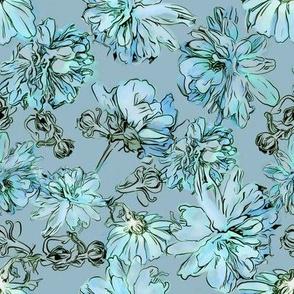 Mums Pattern - Blue Field
