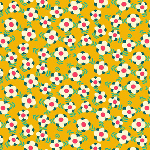 little flowers meadow // mustard yellow // medium scale