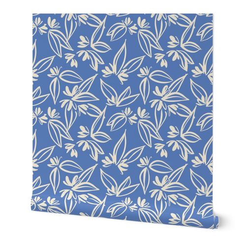 Tropical Flowers in Blue