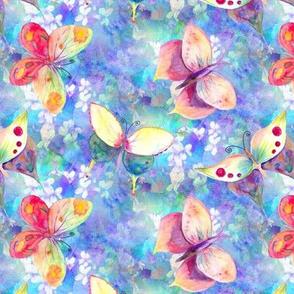mini BUTTERFLIES OF ON FLOWERS FIELDS  PERIWINKLE BLUE AQUA PSMGE