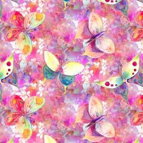 mini BUTTERFLIES ON FLOWERS FIELDS  PINK CORAL AQUA  PSMGE