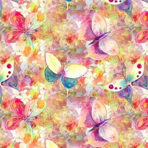 mini BUTTERFLIES ON FLOWERS FIELDS  YELLOW ORANGE AQUA PSMGE