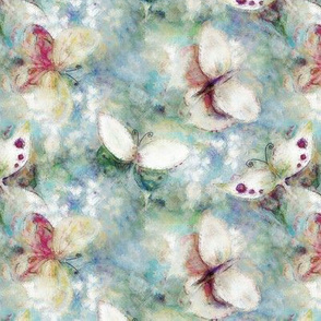 mini PAINTERLY BUTTERFLIES AERIAL 2 BLUE AQUA GREEN BLUE TONES PSMGE