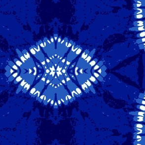 "Indigo hexagons and rhombuses, XL, 24.7"""