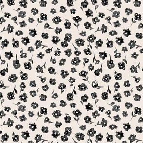 Watercolor spring blossom sweet liberty london style flowers garden soft boho nursery black charcoal beige sand white