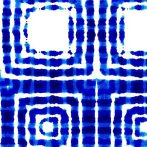 """Indigo squares, L, 10.5"""""""