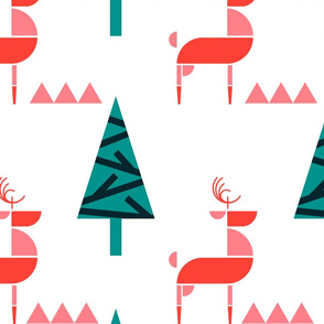 Scandinavian Reindeer in woodland- Abstract Geometric Doe with Christmas Trees- Pink/Teal/Coral/Light Watermelon Pink- Large Scale