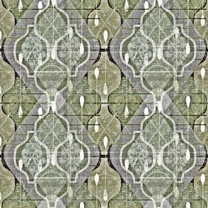 Distressed Atomic Ogee Splash -- Jumbo Modern Farmhouse Home Decor Accent  Ogees in Monochrome Olive Green -- Large Scale