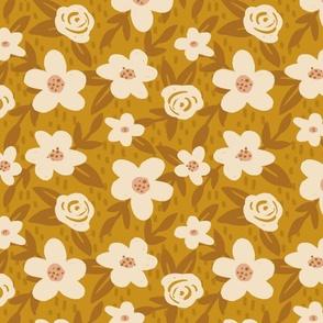 Brushed Florals on Gold