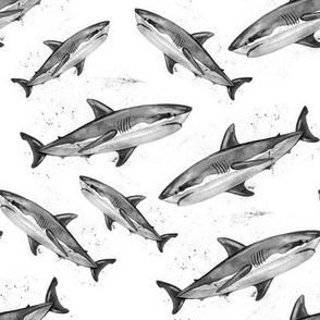 Monochrome Grunge Sharks