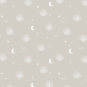 Boho universe third eye watching magical nursery dreams design flirt moon and stars soft beige mist