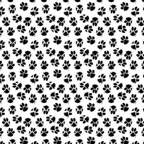 k9 paw prints black on white micro