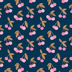 Little Cherry love garden and spots for spring summer nursery design brown caramel navy blue pink
