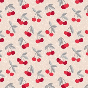 Little Cherry love garden and spots for spring summer nursery design pale blush gray red