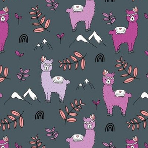 Mountains rainbows and alpacas kids pattern leaves and kawaii animals charcoal gray lilac purple