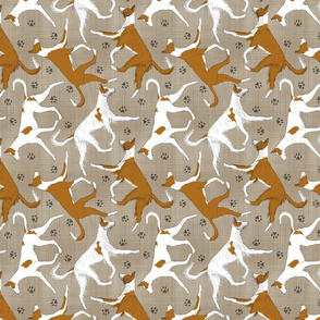 Trotting Ibizan hounds and paw prints - faux linen