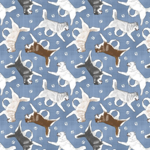 Trotting Siberian Husky and paw prints - faux denim