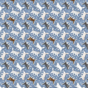 Tiny Trotting Siberian Husky and paw prints - faux denim