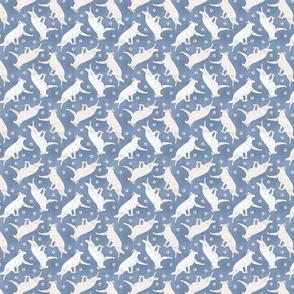 Tiny Trotting White Shepherd dogs and paw prints - faux denim
