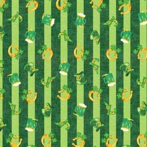 Irish Spring Parade  – Small Scale Fat Quarter – St Patrick Day Colored Stripe with Traditional Saint Patrick Symbols of Ireland -- Forest Green on Light Green -- Shamrocks, Clover,  Horseshoes, Leprechaun Hats, Beer Steins, Boots, Good Luck Charms, Pot o