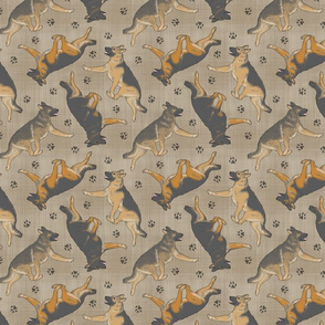 Trotting German Shepherd dogs and paw prints - faux linen