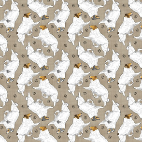 Trotting Color head white rough coated Collies and paw prints - faux linen