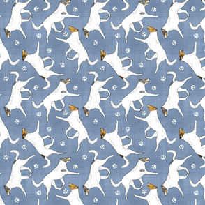 Trotting Color head white smooth coated Collies and paw prints - faux denim