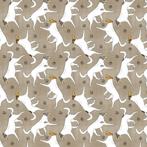 Trotting Color head white smooth coated Collies and paw prints - faux linen