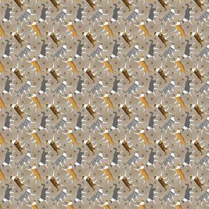 Tiny Trotting smooth coated Collies and paw prints - faux linen