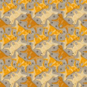 Trotting Golden Retrievers and paw prints - faux linen