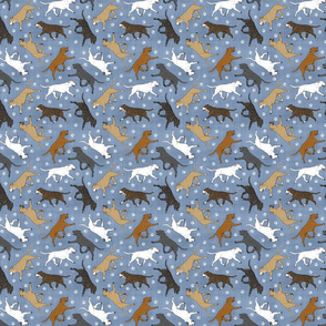 Tiny Trotting Staffordshire Bull Terriers and paw prints - faux denim