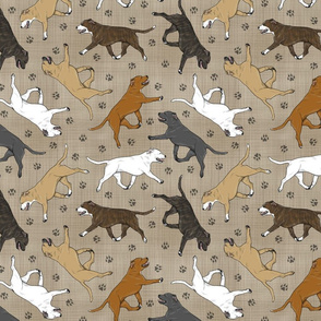 Trotting Staffordshire Bull Terriers and paw prints - faux linen