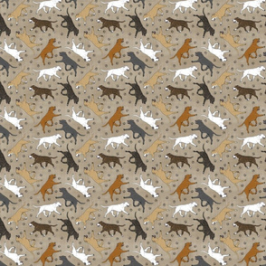 Tiny Trotting Staffordshire Bull Terriers and paw prints - faux linen